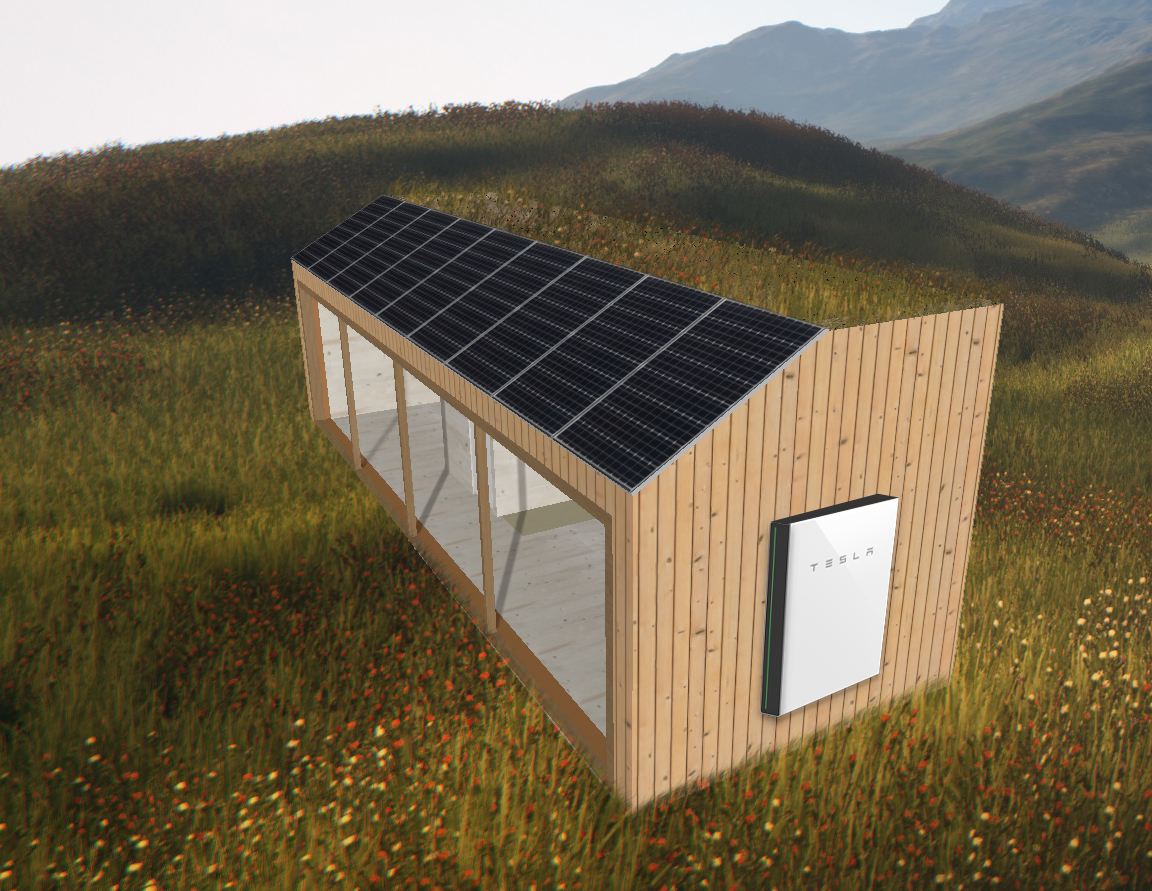 Casa con energía fotovoltaica y batería TESLA